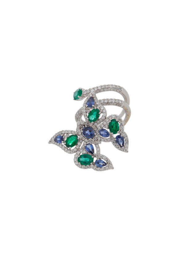 Sutra 18K White Gold Sapphire & Emerald Butterfly Ring