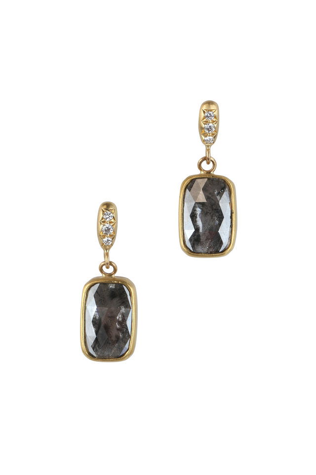 20K Yellow Gold Gray Diamond Earrings
