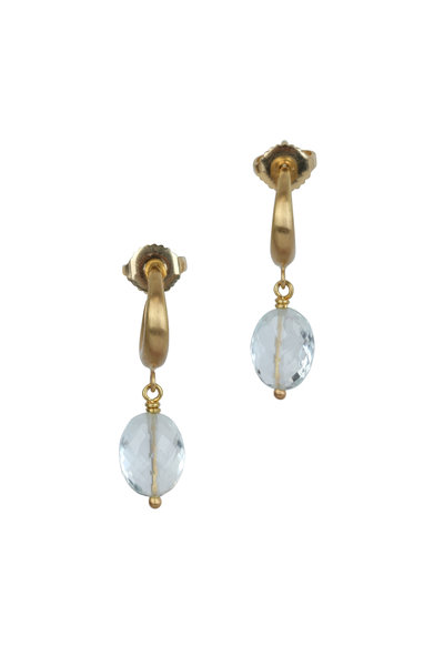 Caroline Ellen - 20K Yellow Gold Goshenite Beaded Hoop Earrings