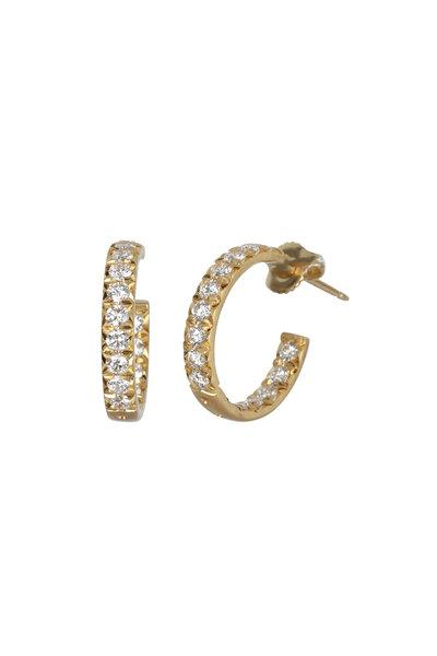 Caroline Ellen - 18K Yellow Gold Diamond Hoop Earrings