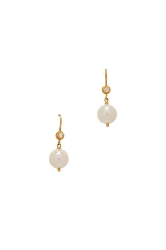 Caroline Ellen Yellow Gold 9MM Pearl Dangle Earrings