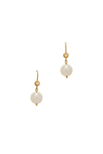 Caroline Ellen - Yellow Gold 9MM Pearl Dangle Earrings