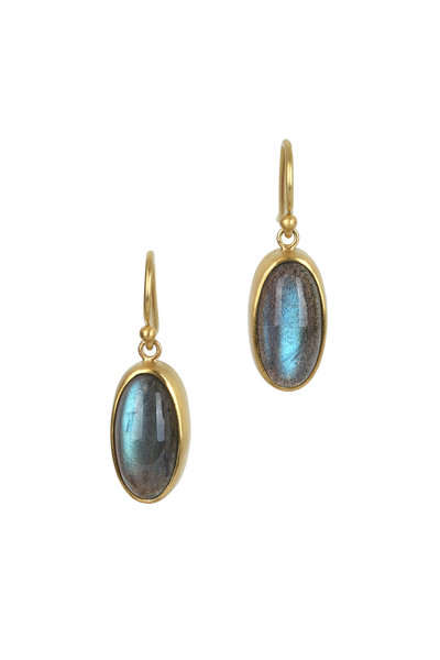 Caroline Ellen - 22K Yellow Gold Labradorite Earrings