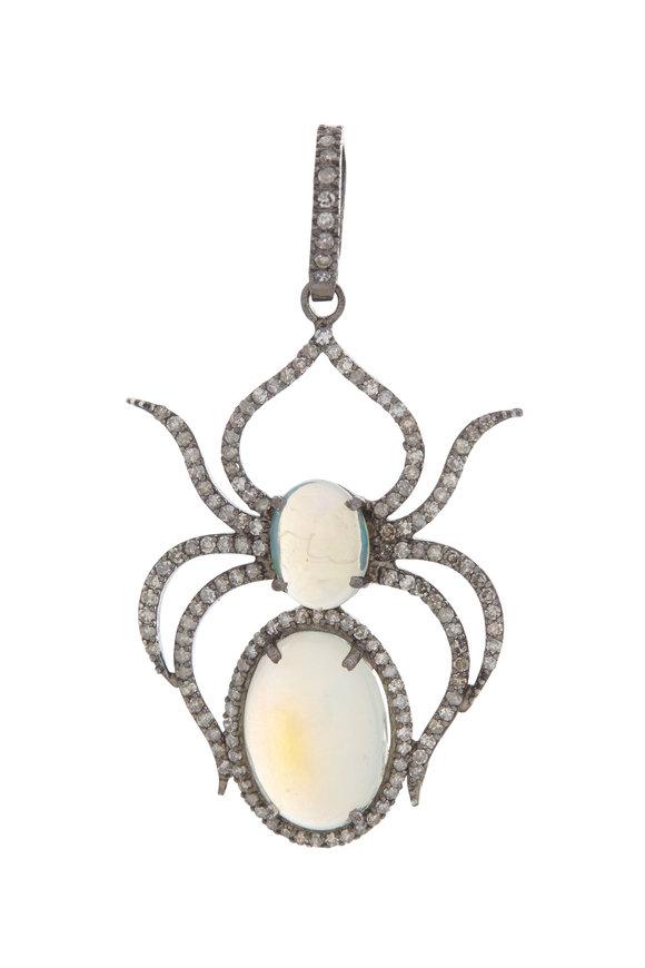 Dilara Saatci Sterling Silver Opal Spider Pendant