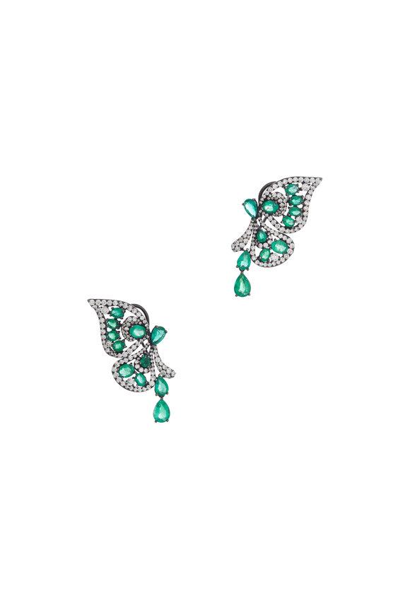 Sutra 18K White Gold Emerald Butterfly Earrings