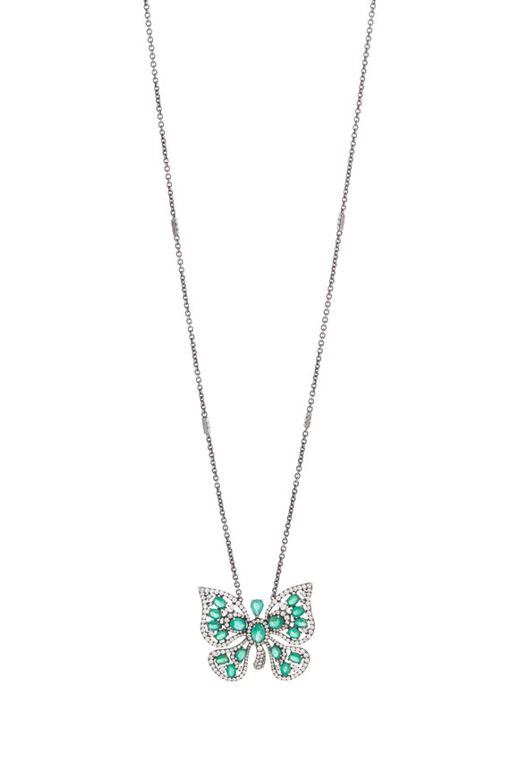 Sutra 18K White Gold Emerald Butterfly Pendant Necklace