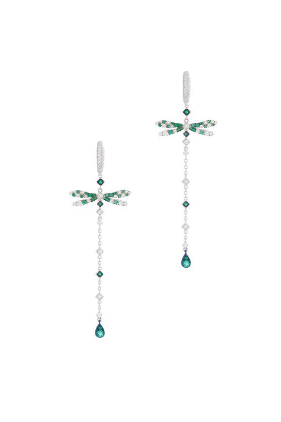 Mariani 18K White Gold Emerald Dragonfly Drop Earrings