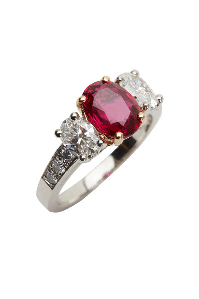 Oscar Heyman - Platinum & Gold Ruby & Diamond Ring