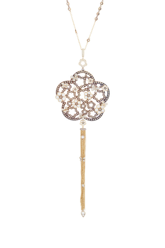 Mariani 18K Yellow Gold Flower Pendant Necklace