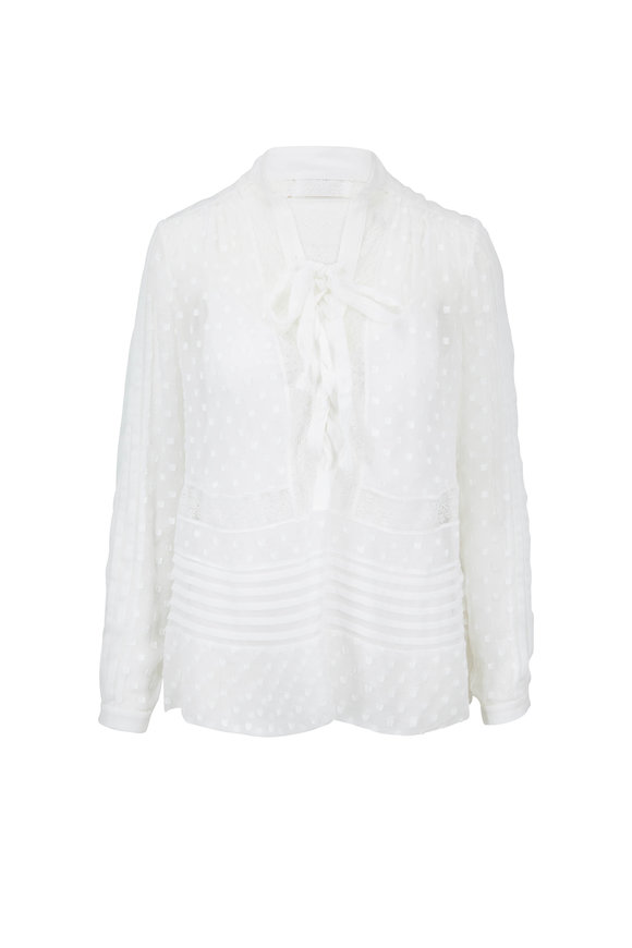 Zimmermann Radiate Pearl White Tie Up Blouse