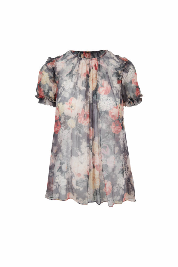 Zimmermann Radiate Charcoal Silk Washed Floral Ruffle Top