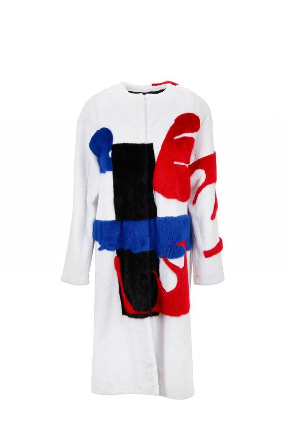 Oscar de la Renta Furs White, Blue & Red Sheared Mink Intarsia Coat