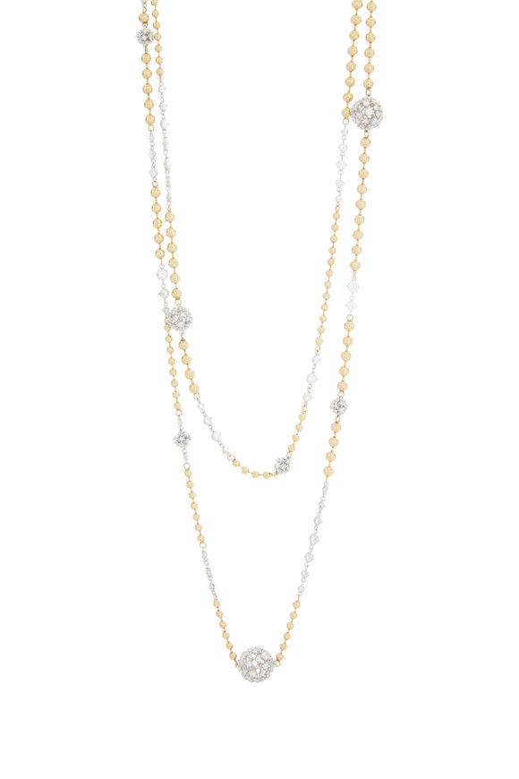 Mariani 18K Yellow Gold White Diamond Beaded Ball Necklace