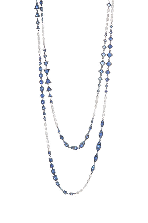 Mariani 18K White Gold Blue Sapphire Necklace