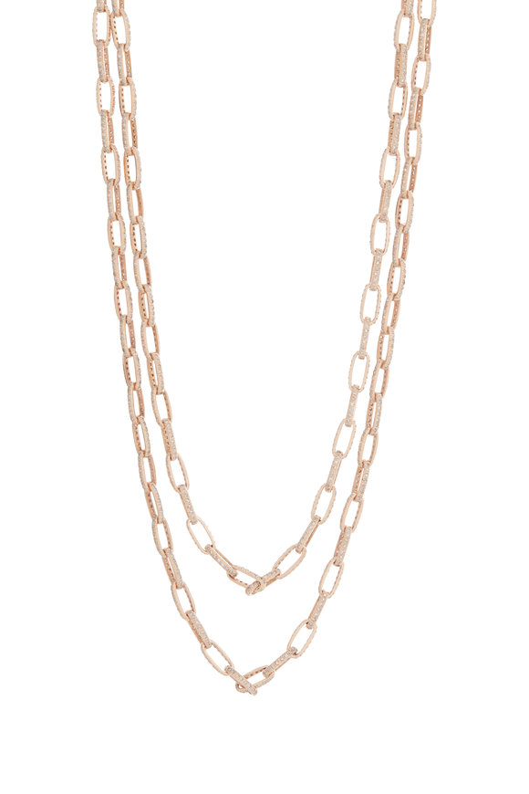 Kai Linz 18K Rose Gold Pavè Chain Link Necklace