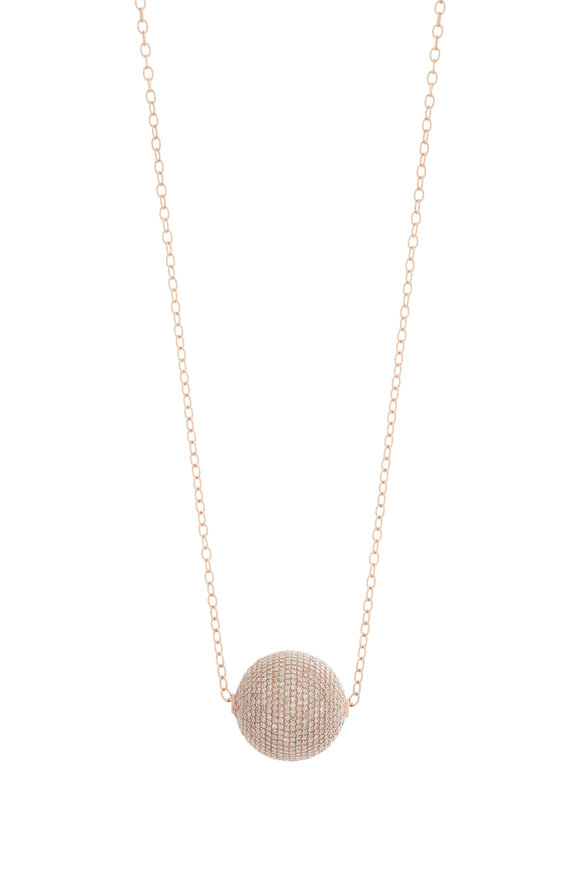 Kai Linz Rose Gold Pavè Sliding Ball Necklace