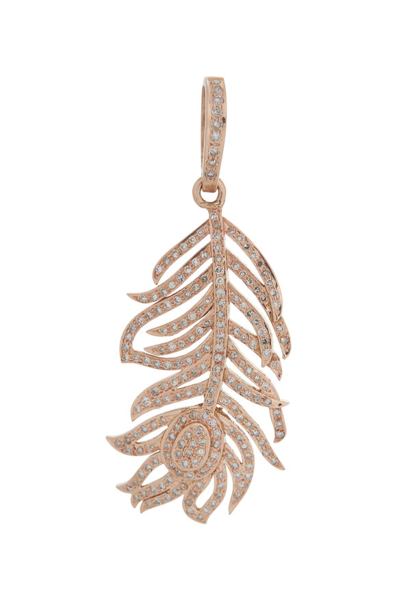 Kai Linz Rose Gold Pavè Small Feather Charm