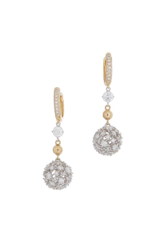 Mariani 18K Yellow Gold Diamond Ball Earrings