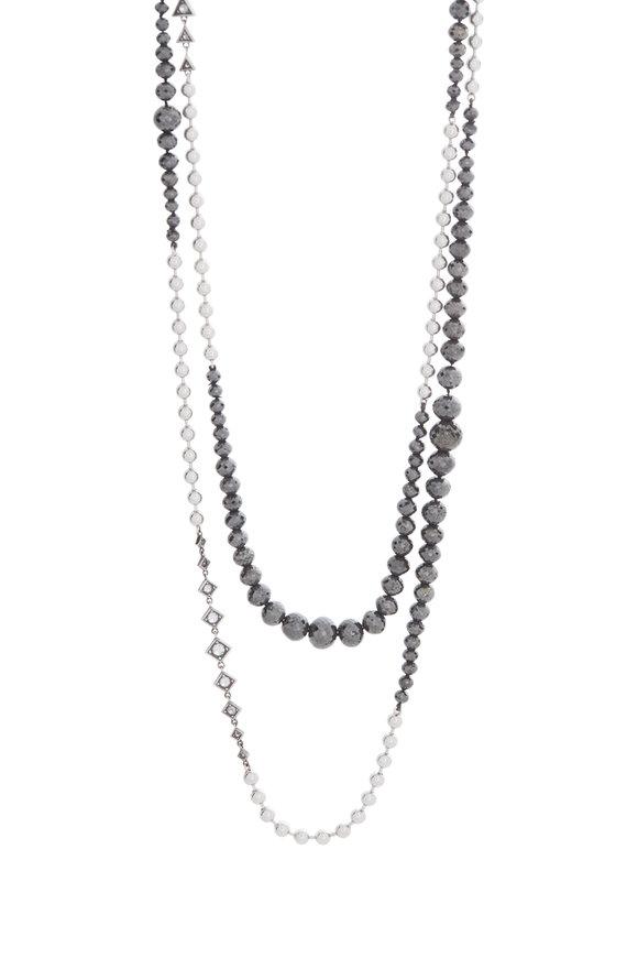 Mariani 18K White Gold Black Diamond Beaded Necklace