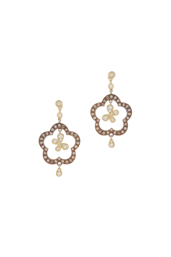 Mariani 18K Yellow Gold Butterfly & Flower Earrings