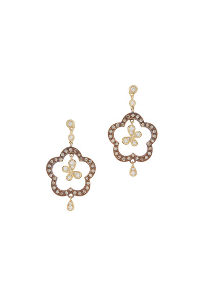 Mariani - 18K Yellow Gold Butterfly & Flower Earrings