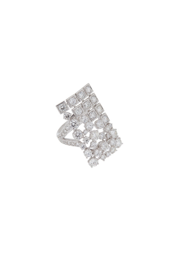 Mariani 18K White Gold White Diamond Cocktail Ring