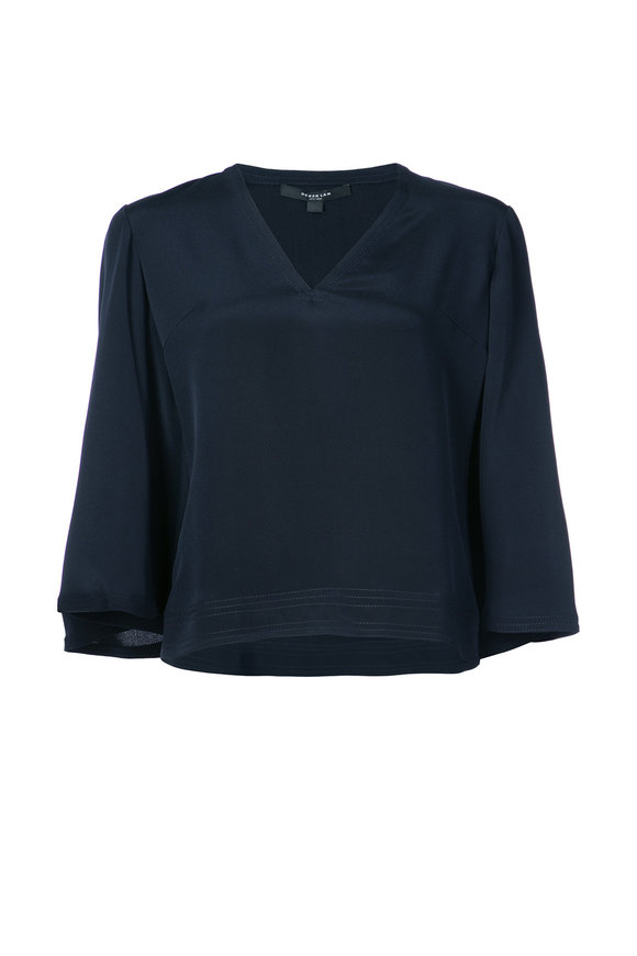Derek Lam Navy Silk V-Neck Blouse