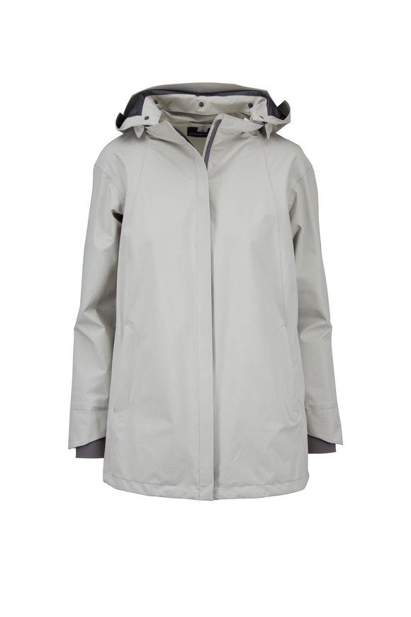 Herno Light Gray Gortex Hooded Raincoat