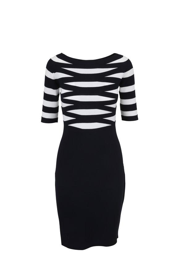 Emporio Armani Navy & White Striped Knit Elbow Sleeve Dress