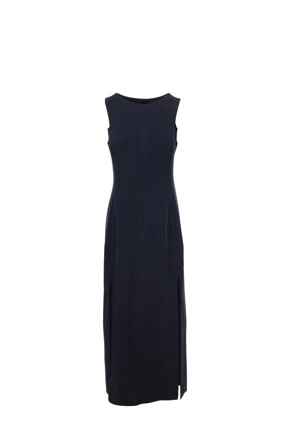 Emporio Armani Navy Blue Washed Silk Sleeveless Maxi Dress