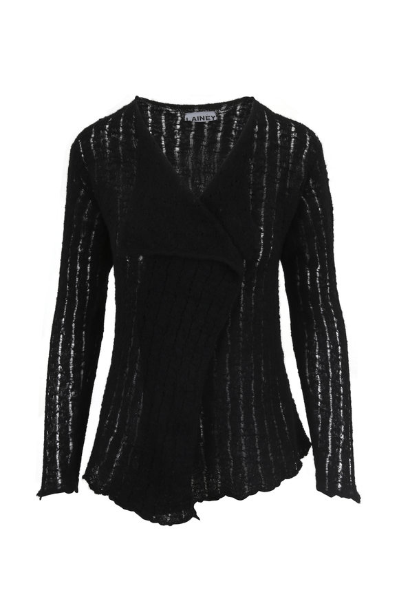 Lainey Keogh Black Waterfall Front Ribbed Cardigan