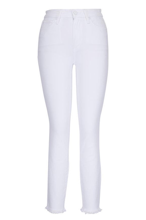 Paige Denim Hoxton White Skinny Ankle Frayed Hem Jean