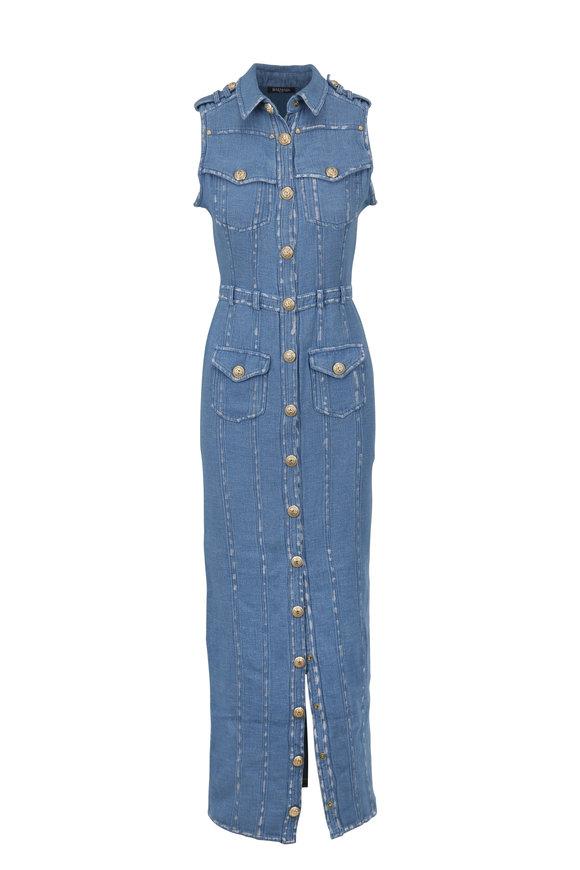 Balmain Denim Cotton & Linen Sleeveless Long Dress