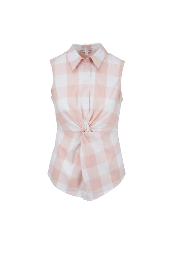 Donna Degnan Pink Gingham Cinched Waist Sleeveless Top