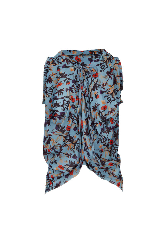 Chloé Grizzled Blue Floral Print Sleeveless Blouse