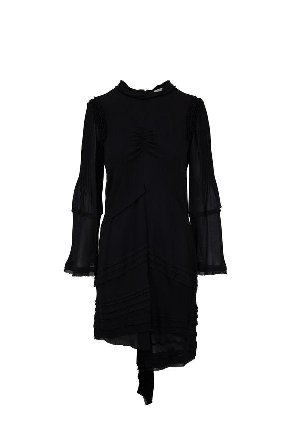 Chloé Black Sheer Crepê Asymmetric Dress