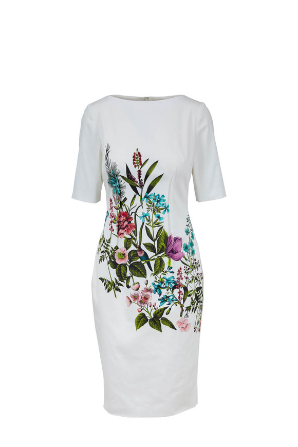 Lela Rose Ivory Stretch Cotton Bird & Orchid Print Dress