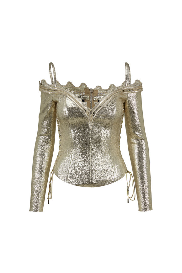 Jitrois Goldray Stretch Leather Cold Shoulder Top
