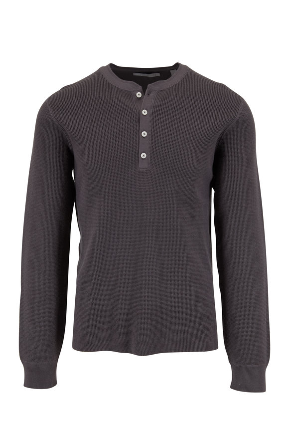 Vince Dark Slate Thermal Cotton Henley