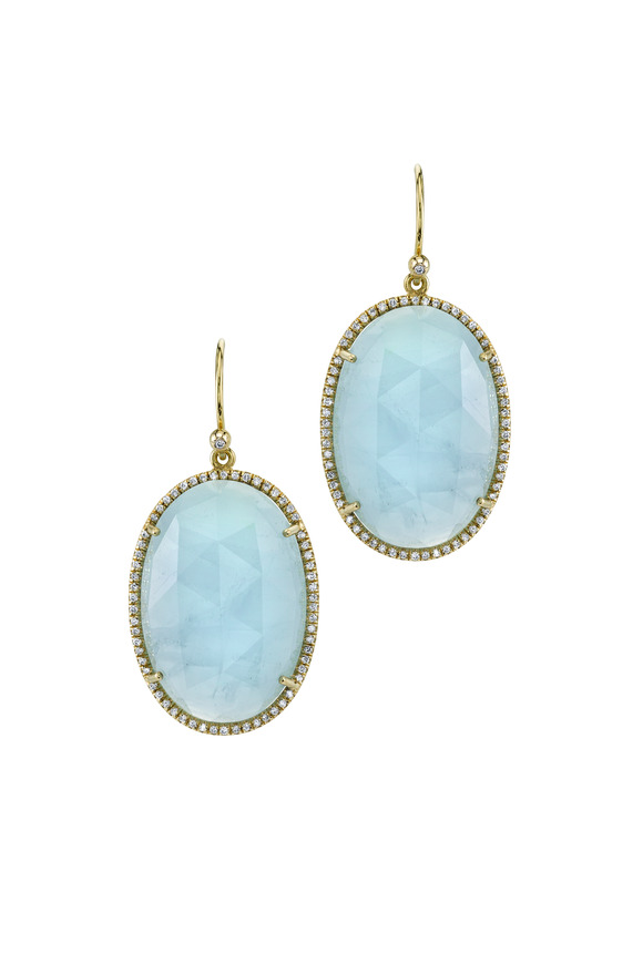 Irene Neuwirth Yellow Gold Rose-Cut Aqua Diamond Earrings