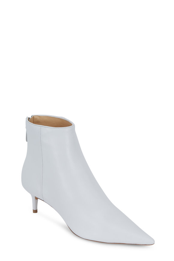 Alexandre Birman White Leather Kittie Bootie, 50mm