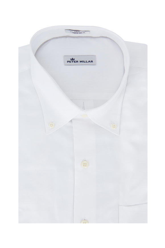 Peter Millar Solid White Sport Shirt
