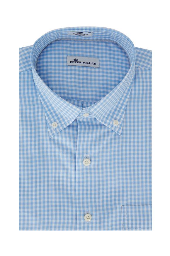 Peter Millar Light Blue Gingham Sport Shirt