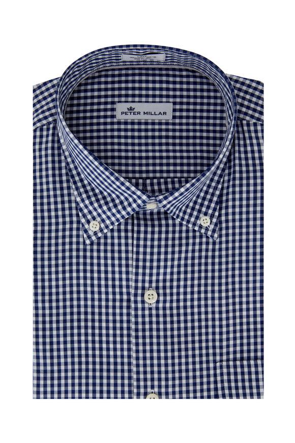 Peter Millar Navy Blue Gingham Sport Shirt