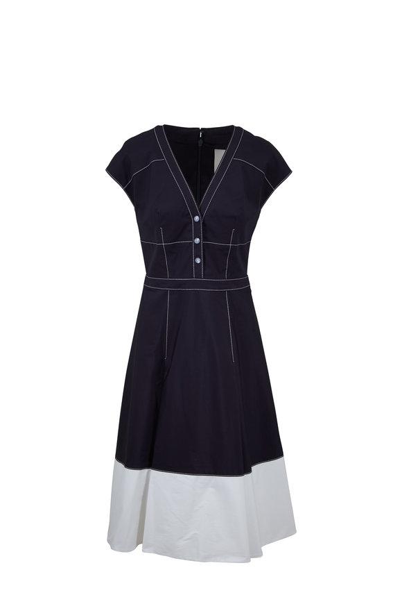 Carolina Herrera Navy Blue Contrast Seam Cap Sleeve Dress
