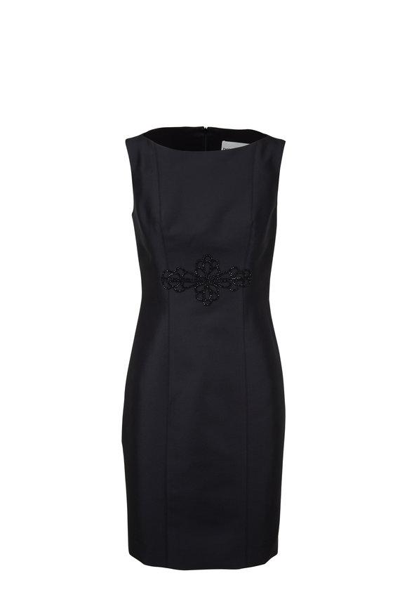 Donald Deal Black Satin Embroidered Sleeveless Cocktail Dress