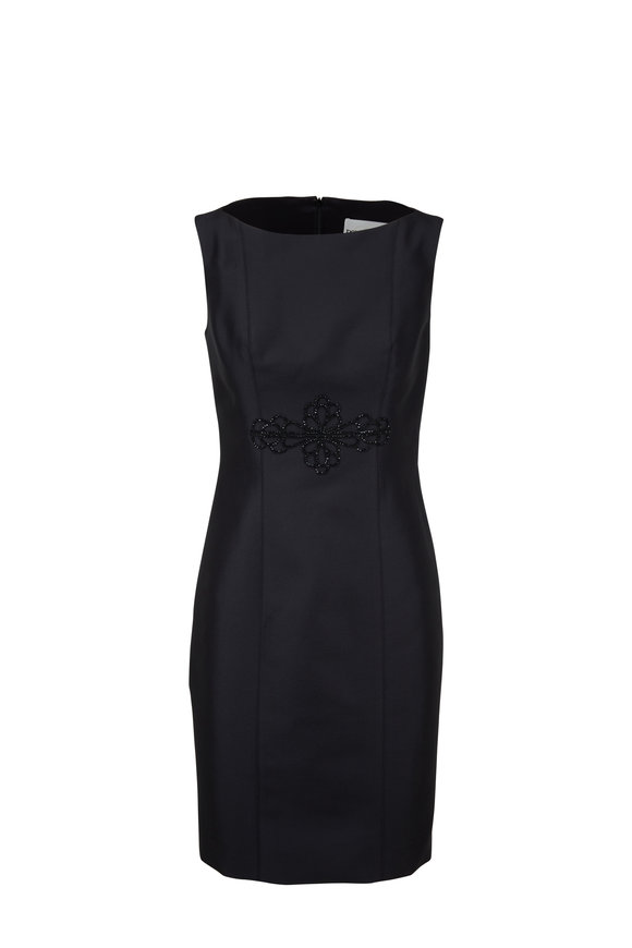 Donald Deal Black Satin Embroidered Sleeveless Cocktail Dress