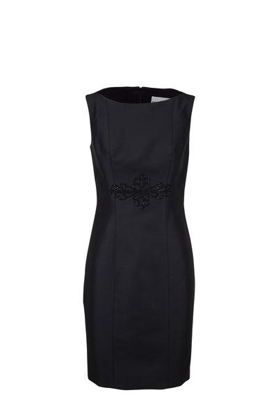 Donald Deal - Black Satin Embroidered Sleeveless Cocktail Dress