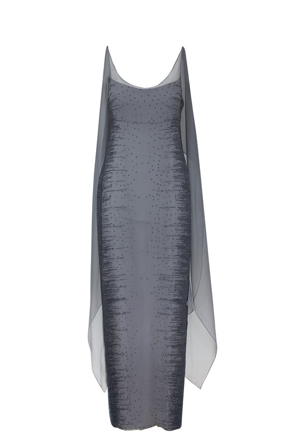 Donald Deal Silver Gray Beaded Sleeveless Gown With Shawl
