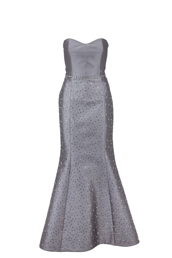 Donald Deal Silver Bustier Crystal Beaded Gown